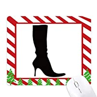 単純なパターン黒のブーツのシルエット ゴムクリスマスキャンディマウスパッド