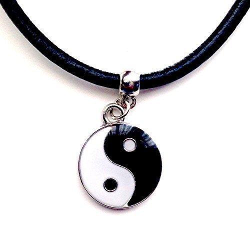 Live It Style It Esmaltado Yin Yang Dije Cuero Gargantilla/Collar (Ying YAN Gargantilla) + Fabricado en Reino Unido