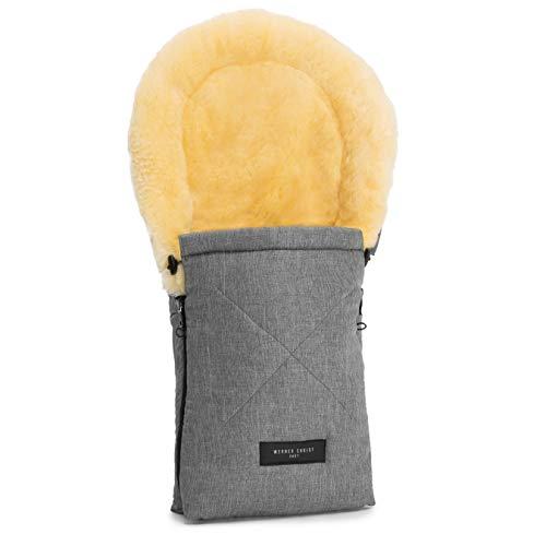 Lammfell-Fußsack OSLO für Babywanne von WERNER CHRIST BABY – universal Winterfußsack aus medizinischem Fell, für Tragetasche, Babyschale & Kinderwagen, in grigio (grau meliert)
