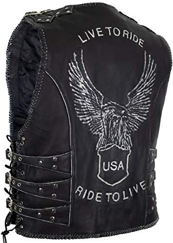 MDM Chaleco de piel para hombre con un águila en relieve y hebillas para ajustar. Negro XXXL