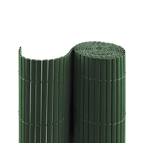 jarolift PVC Sichtschutzmatte Standard Sichtschutz Garten Balkon Terrasse Sichtschutzzaun Balkonverkleidung Zaunblende, 90 x 600 cm Länge, 2 Matten je 2 x 3 m Länge, Grün