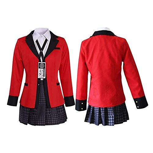 starte Jabami Yumeko Cosplay Kakegurui Traje De Disfraz De Anime para Mujeres Adultas Escuela JK Uniforme Falda Plisada Roja