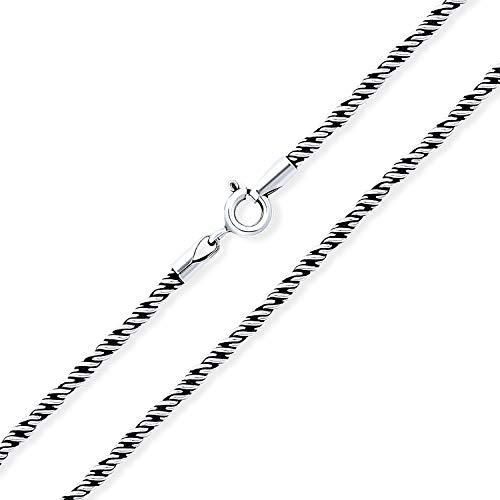 La Plata Esterlina 925 Oxidada Fuerte Estilo Cable Cuerda Collar De Cadena Para Hombres Y Para Mujer...