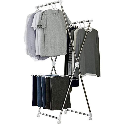 アイリスオーヤマ 洗濯物干し 風ドライ 室内物干し 約2人用 ハンガー固定パーツ付 簡単組み立て 折りたたみ収納 乾燥時間短縮 幅70cm KDM-70X