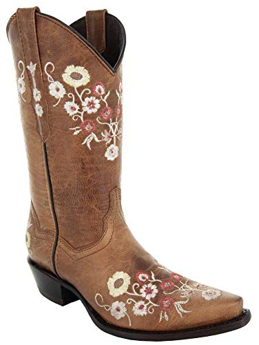 Soto Boots Womens Showstopper Snipped Toe Floral Cowgirl Boots M50044 (Tan,8.5 B(M) US)