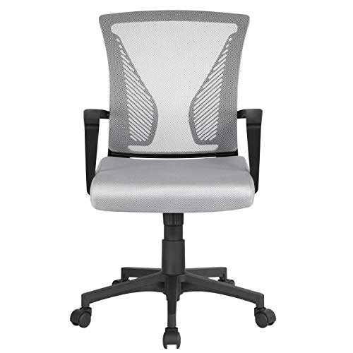 Yaheetech Adjustable Desk Chair Executive Computer Office Chair Ergonomic Swivel Mesh Chair with Comfy Lumbar Support Light Grey