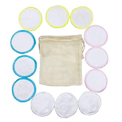 Chirsemey Tampons démaquillants réutilisables en coton de bambou de 4 couleurs 16 avec sacs à lessive et de rangement, tampons lavables et écologiques en coton de bambou avec sac à linge
