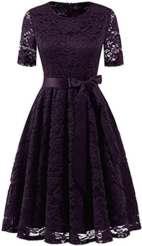 DRESSTELLS Lace Bride Dress for Women Vestidos De Mujer Elegantes Floral A-line Tea Dress Plus Size for Graduation Wedding Evening Party Grape 3XL