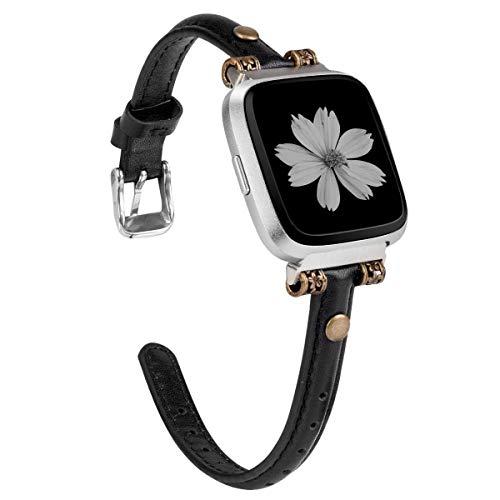 Wearlizer für Fitbit Versa Armband, Schlank Leder Ersatzband mit Edelstahl-Verschluss für Fitbit Versa/Versa 2 /Versa Lite/Versa SE Fitness Smart Watch - Schwarz