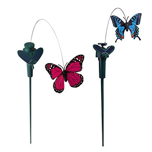 F Fityle 2er Tanzender Solar Schmetterlinge Solarstecker Garden Blumenkopf Ornaments