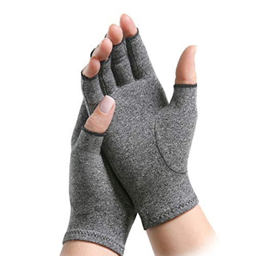 DOITOOL 1 par de guantes de compresión para artritis sin dedos, transpirables, ligeros, de compresión, para la artritis, aliviar el dolor, para hombres y mujeres (S)
