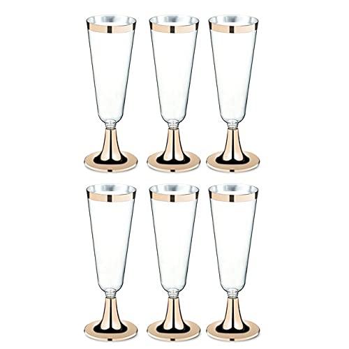 XKMY Juego de 6 copas de cóctel de plástico para vino tinto y copas de champán, copas de cóctel, copas de boda, suministros para fiestas, 150 ml (color oro)
