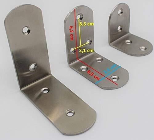 Conector angular de acero inoxidable, ángulo de viga, ideal para interiores y exteriores, ángulo de metal en 3 tamaños diferentes, 5-15 cm (2 unidades de 6,5 cm)