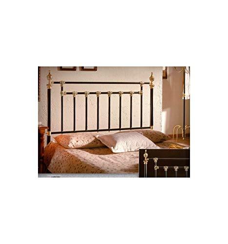 Cabecero de forja y latón Classic - Negro, Brillante, Cabecero para colchón de 90 cm
