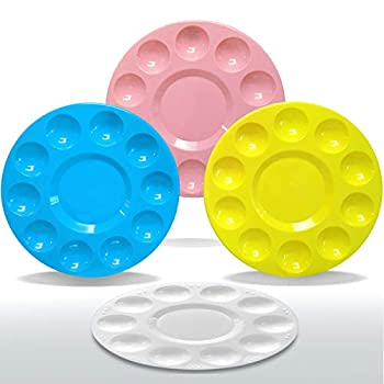 Hulameda 4 Colors Paint Tray Palettes Plastic Round Pallets for Kids Adult,Student to Painting,Craft DIY or Have a Birthday Painting Party
