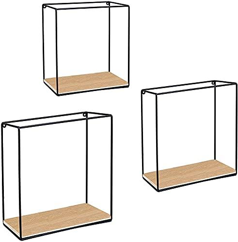 Stonebroo Mensola Cubo da Muro Nero, Set di 3 Mensole da Parete Metallo Legno, 32/30/28 cm, per Ingresso Salotto Camera da Letto Bagno Cucina, LBJ12B