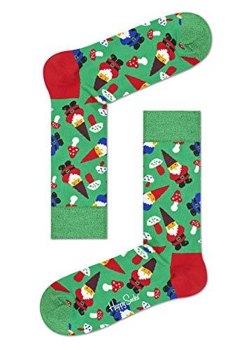 Happy Socks Damen Freizeitsocken Garden Gnome Sock, Grün (Khaki 7000), One Size (Herstellergröße: 36-40)