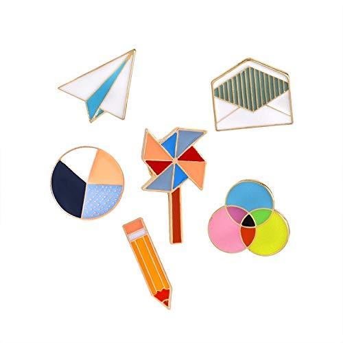 ZSCZQ Moda Origami avión Colorido círculo sobre broches de Dibujos Animados Mujeres Pines Collar Ropa Bolsa Insignias decoración joyería Regalos Molino de Viento