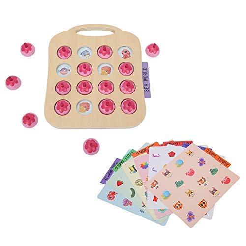 Gioco Scacchi Memory Matching Giocattoli Gioco Puzzle Accoppiamento Montessori Educational Allenamento Gioco Abbinamento Strumento Sviluppo Iniziale per Bambini Compleanno Natale Pasqua Regalo (Pink)