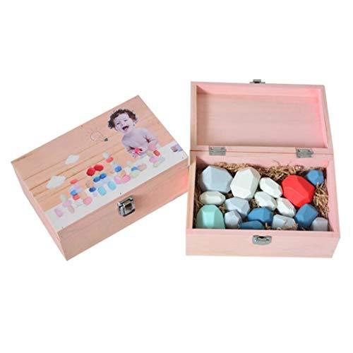 Mikiya 16 PC Kinder aus Holz Farbige Stein, Stapeln Spiel Bauklotz Kinder Kreative Educational Kleinkindspielzeug