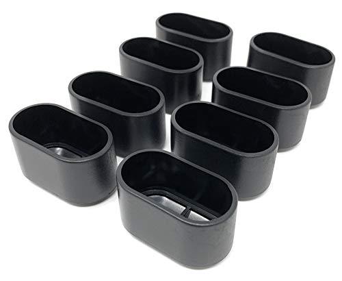 Design61 8x Abdeckkappen Stuhlbeinkappen Kappen 38x20 mm für Ovalrohre Rohrkappen für Gartenstühle