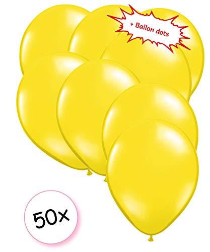 Ballonnen Geel 50 stuks 27 cm + Ballon Lijm Plakkers - Plafond Stickers