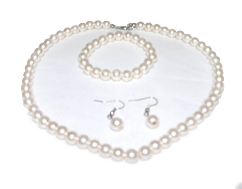 V G S Eternity Fashions Jewelry ~ Cream Faux Imitation Pearls Necklace Bracelet and Earrings Jewelry Set Casual Formal for Women Girlfriends Teens