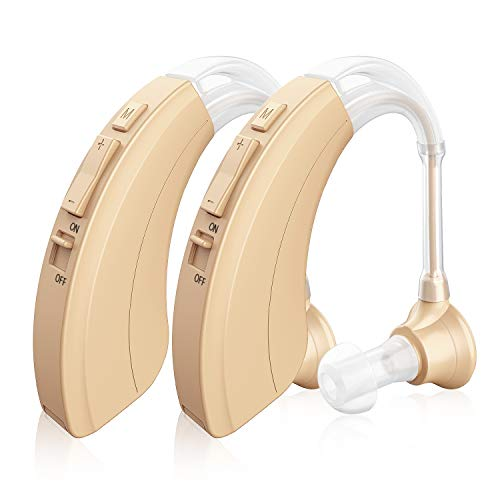 Digital Hearing Amplifier 2 Pack - Personal Sound Device with Batteries, 4 Channels Noise Reduction, Hearing Aid Cleaning Kit for Adults and Seniors
