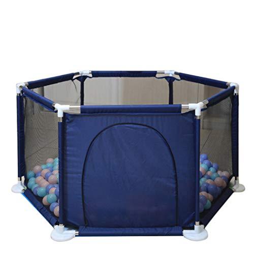 Laufstall Kinder, Laufgitter Faltbar und Tragbar, Laufstall Sechseckig mit Netz, Innen- und Außenspiel für Kinder von 0 bis 4 Jahren Marine Eine Größe
