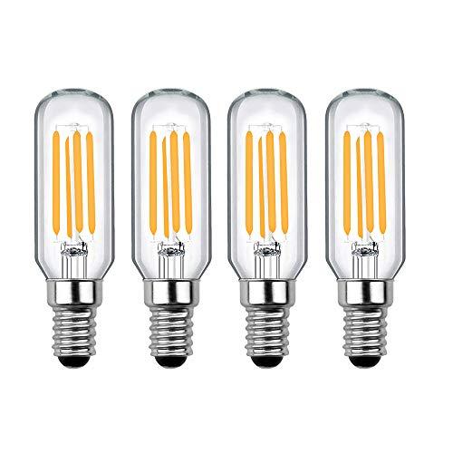Luxvista 12V E14 LED Vintage Edison Tubular Bombilla de Filamento, T25 4W Equivalente a 40W con 400 LM, Luz Cálida 2700K para Campana Extractora (4-Unidades, No Regulable)