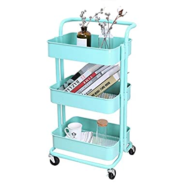 3-Tier Metal Mesh Storage Utility Cart with Brake Caster wheels, Rolling Cart with Removable Handle, Turquoise