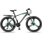 WPW Bicicleta de Montaña con Marco de Acero de 24 Velocidades, Ruedas de 26 Pulgadas, Doble Suspensión, Bicicleta Plegable - Hombres Mujeres (Color : 21-Speed Green, Talla : 26inches)