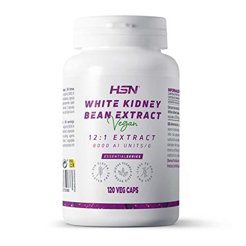 Extracto de Alubia Blanca de HSN | 500 mg, Bloqueador de Carbohidratos, Adelgaza de forma rápida y efectiva, Carb blocker | Veganos, Sin Gluten, Sin Lactosa, 120 Cápsulas Vegetales