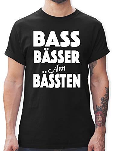 Festival - Bass Bässer am Bässten - L - Schwarz - Geschenk - L190 - Tshirt Herren und Männer T-Shirts