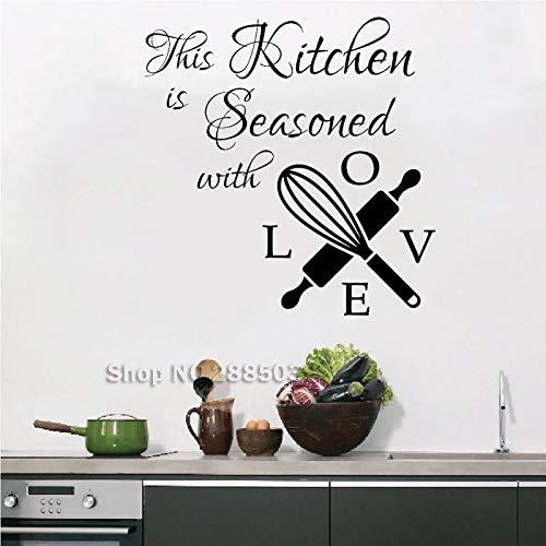 wopiaol Liebe Küche Wandtattoos Zitat Aufkleber Dies ist gewürzt mit Liebe Vinyl Aufkleber Wandbeschriftung Creative Cafe Home Decor Art L.
