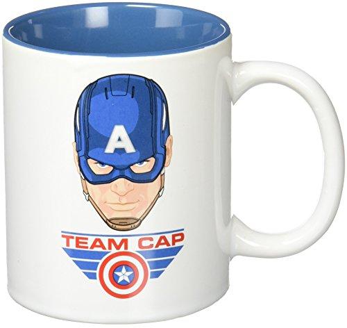 SD Toys Marvel Tazza Team Cap, Ceramica, Blu, 10 cm