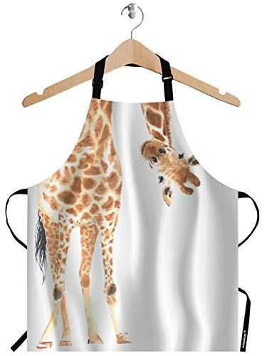 WONDERTIFY Funny Giraffe ApronWild Animal Watercolor Giraffe Brow White Bib Apron with Adjustable Neck for Men WomenSuitable for Home Kitchen Cooking Waitress Chef Grill Bistro Baking BBQ Apron