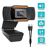 Webcam 1080P 【2020 Neue Version】 Autofokus Full HD Bussiness Webkamera mit Zwei Digitalen Mikrofonen - USB-Computerkamera für PC Laptop Desktop Mac Videoanrufe, Konferenzen über Skype YouTube