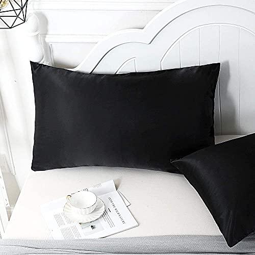 AIKJ Funda de almohada de seda en ambos lados con cremallera oculta para el cabello y la piel, funda de almohada de seda, 2 unidades, color negro