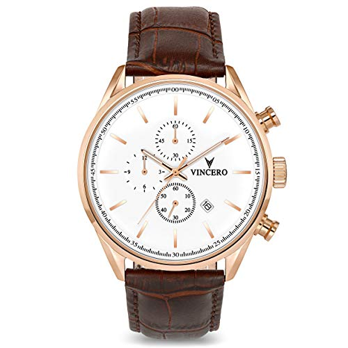 Vincero The Chrono S Dial Leather Strap Men's Watch WHI-GOL-S07