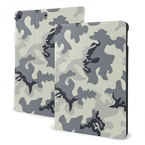 Ipad 2019 7th Generation 10.2 Inch Case, Ipad Air 3 10.5 Inch Case, Grey Camouflage Leather Full Body Protective Covers, Adjustable Stand with Auto Wake/Sleep