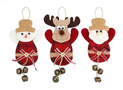 Alona Christmas Decorations Door Hanger 3Pcs, Burlap Santa Snowman and Elk, Indoor Jingle Bell Door Decor Knob Hanging Ornament & Pendants