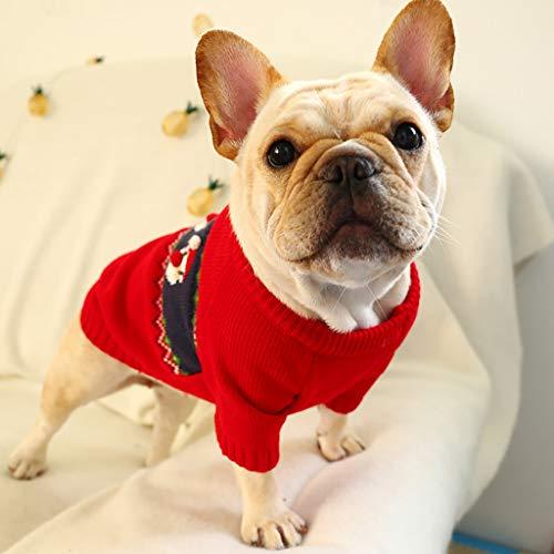 Longra Maglione di Natale Natalizio per Cani Bulldog Francese Vestiti Maglia Caldo Autunno Inverno Cappotto Tute Maglieria per Cane Gilet Camicia Rosso Regalo di Natale