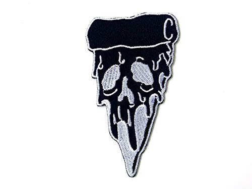 Zombie Ghost Pizza Skull Piece Black Color Sewing Iron on Embroidered Patch