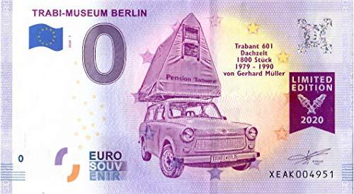 # 0 Euro Schein Deutschland 2020 · Trabi-Museum Berlin · Trabant 601 Dachzelt · Souvenir o Null € Banknote