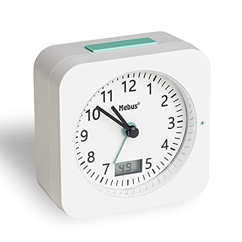 Mebus Funk-Wecker mit Thermometer/Datumsanzeige, Schlummerfunktion, großes Display/Quadratisch/Hintergrundbeleuchtung/Farbe: Weiss/Modell: 25610, Kunststoff, normal