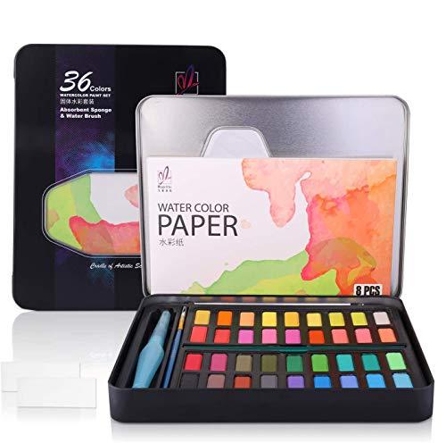 Diealles Shine Set de Pinturas de Acuarela, 36 Colores Pigmento Sólido Set mit 10 Papels para Artistas Principiantes, Aficionados