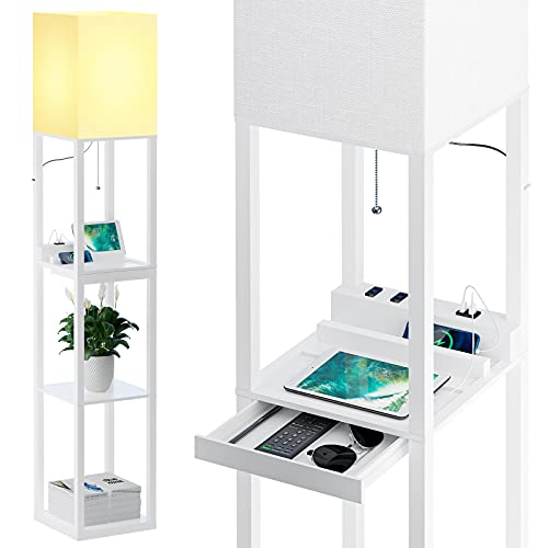 SUNMORY Dimmable Floor Lamp with Shelves,Modern Solid Wood Standing Lamp Both with 1 Drawer and 2 USB Ports & 2 Power Outlet,Corner Tall Bookshelf Lamp for Living Room and Bedroom(White)
