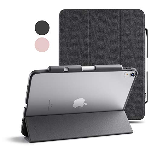 TineeOwl Mocha iPad Air 4 Case 10.9 inch 2020, Ultra Slim Matte Clear case with Pencil Holder + Tri-fold Smart Cover (Black)