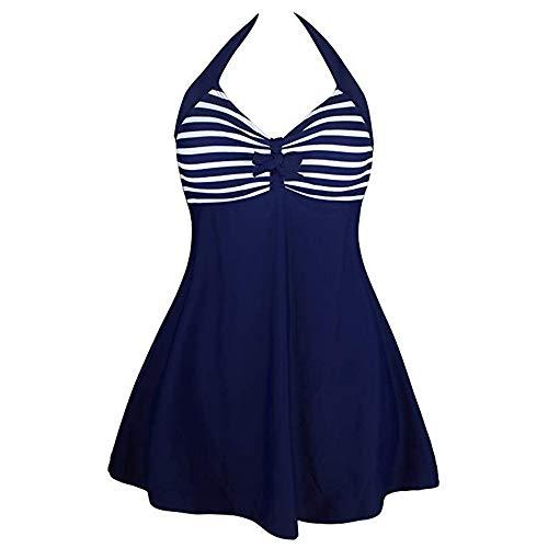 OSYARD Swim Kleider Damen Neckholder Push up Badekleid Figurformender Bunt Badeanzug mit Röckchen Bauchweg Einteiliger Bademode Swimsuit Frauen
